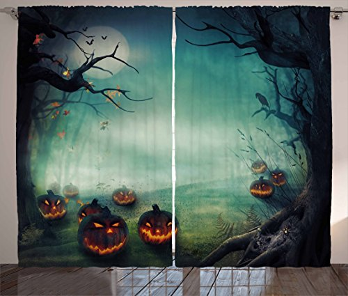 Halloween Curtains by Ambesonne, Mystery Forest Full of Pumpkins Fog Woodland Fantasy Trees Haunted, Living Room Bedroom Window Drapes 2 Panel Set, 108 W X 63 L Inches, Almond Green Orange White