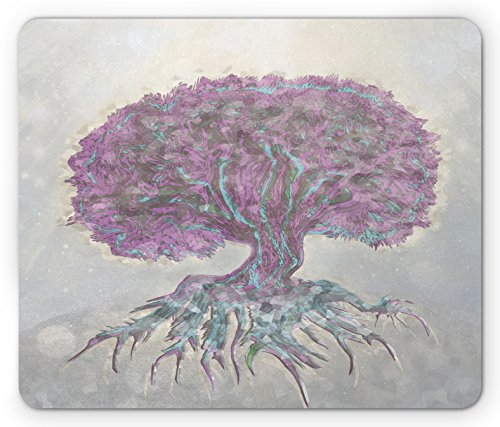 Plant Old Print - Ambesonne Tree of Life Mouse Pad by, Watercolors Style Print of Old Plant with Bokeh Design Majestic Roots Nature, Standard Size Rectangle Non-Slip Rubber Mousepad, Grey Purple