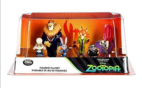 Disney Zootopia Exclusive 6 Figure Character Play Set - Includes Judy Hopps, Nick Wilde, Mayor Lionheart, Bellwether, Mr. Big Baby elephant with Ice Pop