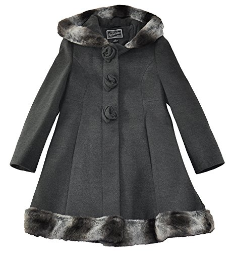 Rothschild Little/Big Girls Faux Wool Scalloped Rosette Winter Dress Coat with Hood, Dark Charcoal 7 -
