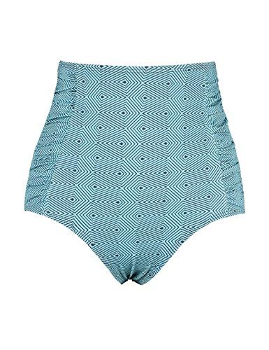 (Septangle Women's High Waist Cut Bikini Bottom Side Ruching Swim Bottom (Blue,US 18) )