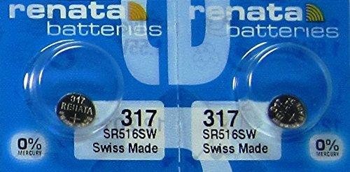 2 Pcs 317 Renata Silver Oxide 0% Mercury Electronic Batteries SR516SW