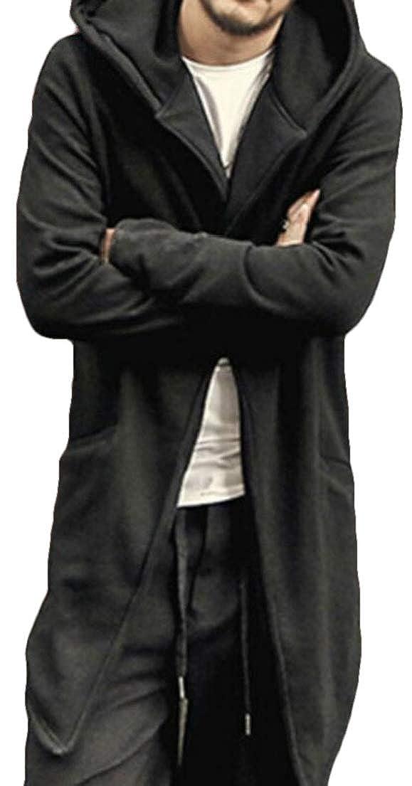 Zantt Men Simple Hooded Baggy Fashion Asymmetrical Hem Solid Color Open Front Cardigan
