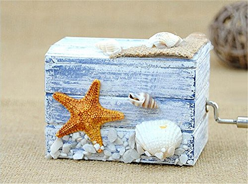 (Biscount Hand Crank Mini Classic Ocean Starfish Music Box Wooden Musical Box Castle in the Sky for Kids Girls Women Gift)