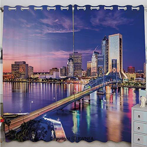 Justin Harve window Jacksonville Florida Skyline Vibrant Night St. Johns River Scenic Bedroom Living Room Curtain Set of 2 Panels(100