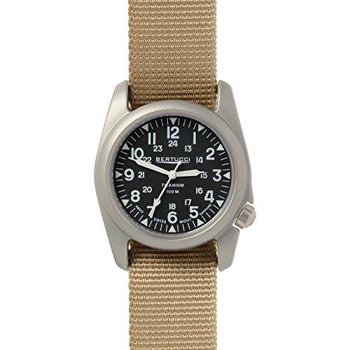 Bertucci A-2T Vintage Watch Balck/Ti-Def Khaki Band 12076