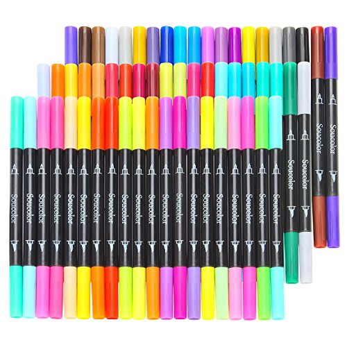 Soucolor 60 Colors Dual Tip Brush Pens with Fineliner Tip 0.4 Art ...