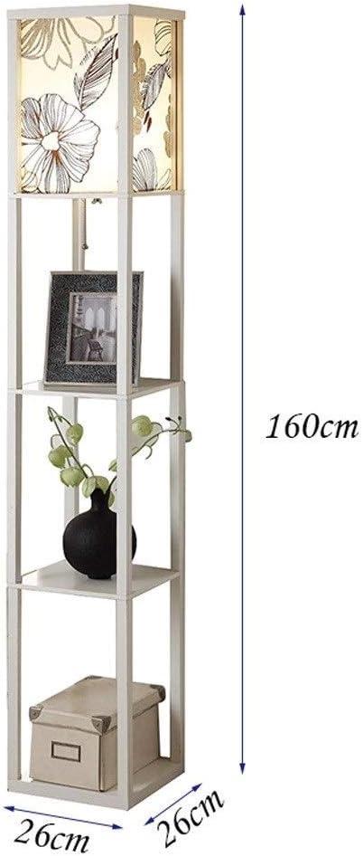 LIIYANN Stehlampen Innenbeleuchtung Stehlampe Moderne chinesische weiße Innenbeleuchtung Stehlampe aus Holz, eingebautes Regal, geeignet für Schlafzimmer Wohnzimmer Stehlampen H