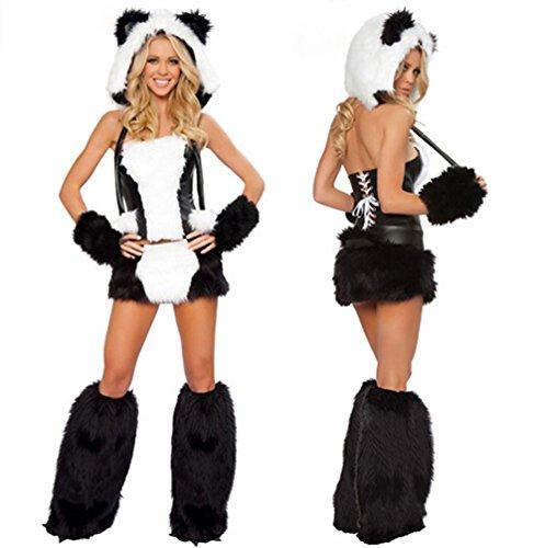 Sexy Panda Bear (Halloween Polar Bear Panda Animal Cosplay Furry Costume Disco-bar Sexy Stage Uniform (White1))