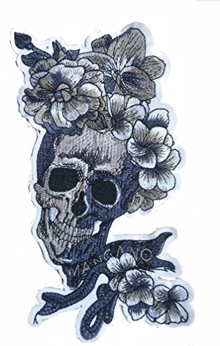 A Iron on Patches, Skeleton, Iron on Patches, Embroidery Patterns, Patches for Jackets (Skeleton Flower, Black and White) (Black and (Skeleton Costume Pattern)