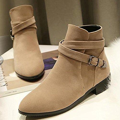 5 Ladies Heel Scrub VECJUNIA Ankle Shoes Beige 8 Autumn Flat Size Boots Suede Block UK Buckle Belt 2 Martin wtqwgda
