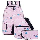 Teen Girls Backpack Unicorn Casual Laptop Daypack School Student Book Bag 3 in 1
