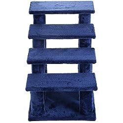 21'' pet ramp cat 4-Step Stairway Perch Scratcher Stairs Dog Ladder Blue