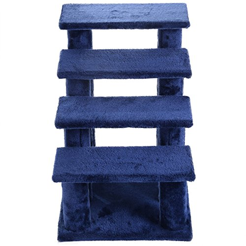 21'' pet ramp cat 4-Step Stairway Perch Scratcher Stairs Dog Ladder Blue