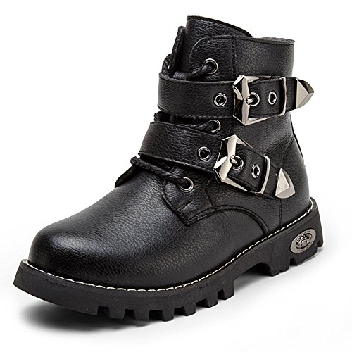 Boys Winter Warm Buckle Fur Lining Hiking Martin Combat Boots British Kid Toddler Zipper Short Ankle Boot