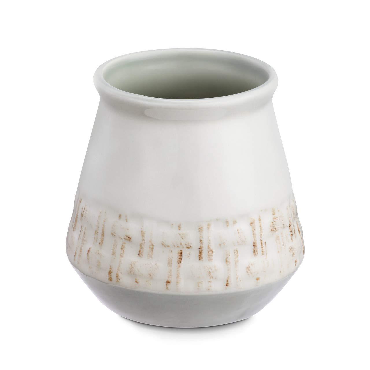 Woven Home Memories Glossy White 4 x 4 Ceramic Stoneware Kitchen Utensil Crock by DEMDACO