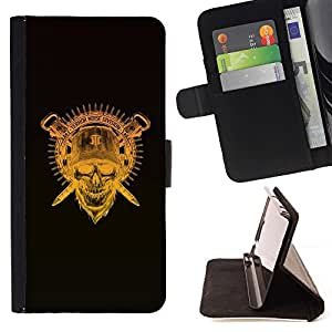 DEVIL CASE - FOR Samsung Galaxy S6 - Terror Noise Division Skull Crest - Style PU Leather Case Wallet Flip Stand Flap Closure Cover