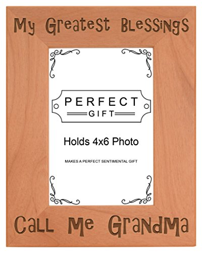 Mother's Day Gift Blessings Call Me Grandma Natural Wood Engraved 4x6 Portrait Picture Frame Wood