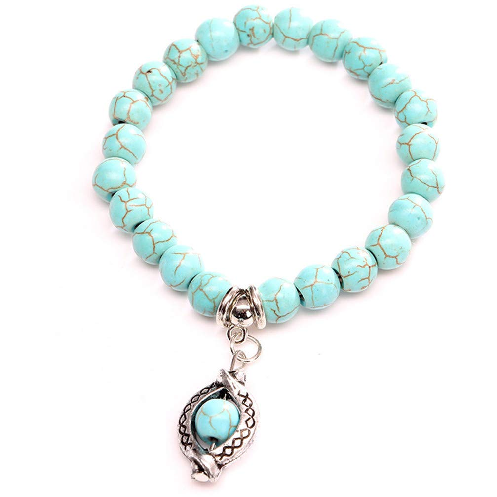 Myhouse Natural Stone Beaded Pendant Stretch Bracelet Charm Gift for Women Girls