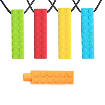 1 Pc Sensory Teether Chew Necklace Durable Kids Silicone Biting Pencil Top Toy