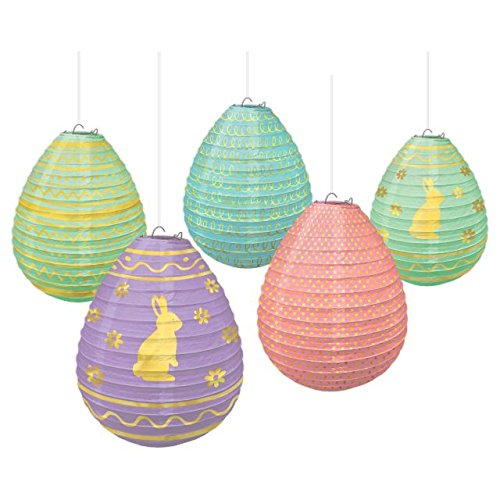 Amscan 242072 Easter Hanging Decorations Mini Egg Paper Lantern, 5