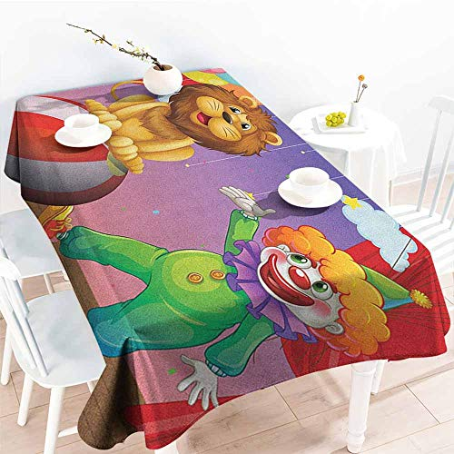 Outdoor tablecloth rectangular,Circus A Lion and a Clown at the Circus Stage Theater Curtain Playing Performance Arts,Table Cover for Kitchen Dinning Tabletop Decoratio,W54x72L, Multicolor