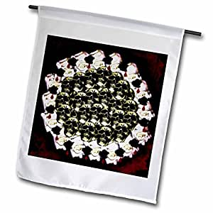 WhiteOak Art Designs Halloween - Skulls in a Wreath - 18 x 27 inch Garden Flag (fl_60815_2)
