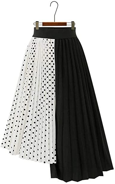 Qijinlook💖 Falda Gasa Lunares simétrica Mujer/Faldas largas Mujer ...
