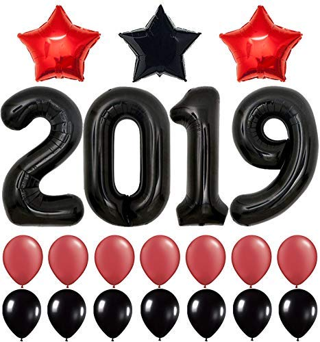 2019 Balloons, Red for New-Year, Large 40 Inch | Red and Black Balloon Kit | New Years Eve Party Supplies 2019 | Graduations Party Supplies 2019 | New Years Party Decorations, Graduations Decorations ()