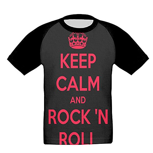 Jeffostie Kids' T-Shirt Keep Calm and Rock Full Printed Crew Neck Short Sleeve Tees - Kid Rock Printed T-shirts
