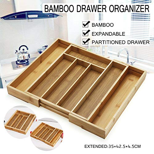 Annstory Bamboo Expandable Drawer Organizer and Divider Cutlery Tra Holder with 7 Compartments for Kitchen Utensil, Flatware, Silverware Storage (wood2)