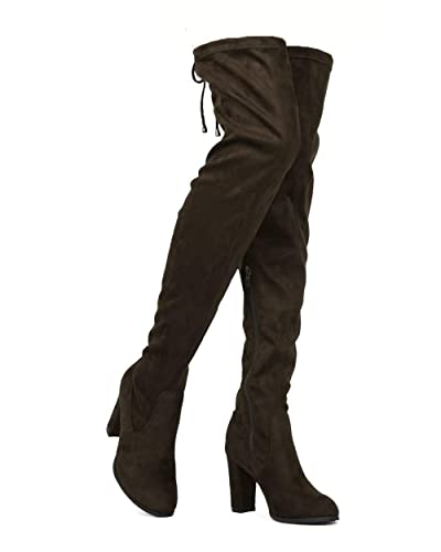 50a92144d46 ShoBeautiful Women's Over The Knee Boots Block Heel Drawstring Thigh High  Stretchy Boot