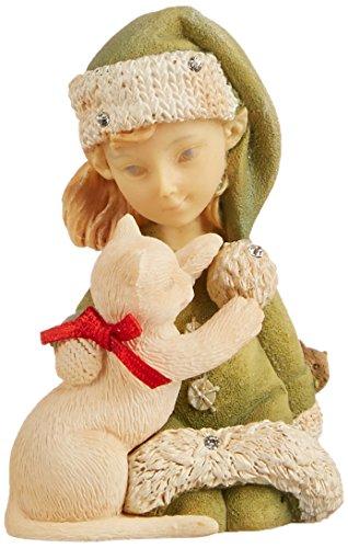 Enesco Heart of Christmas Elf with Kitty Figurine, 2.56-Inch by Enesco