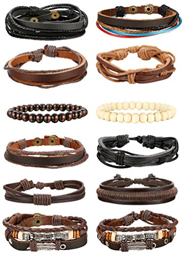 Udalyn 12-14Pcs Leather Bracelets for Men Women Wood Bead Bracelet Braided Cuff Adjustable