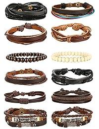 Udalyn 12-14Pcs Leather Bracelets for Men Women Wood Bead Bracelet Braided Cuff Adjustable