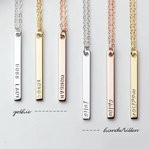 Dainty Vertical Hand Stamped Name Gold Bar Necklace Personalized Gift for women Bridesmaid Jewelry Valentine's Day Gifts for Her - 13N