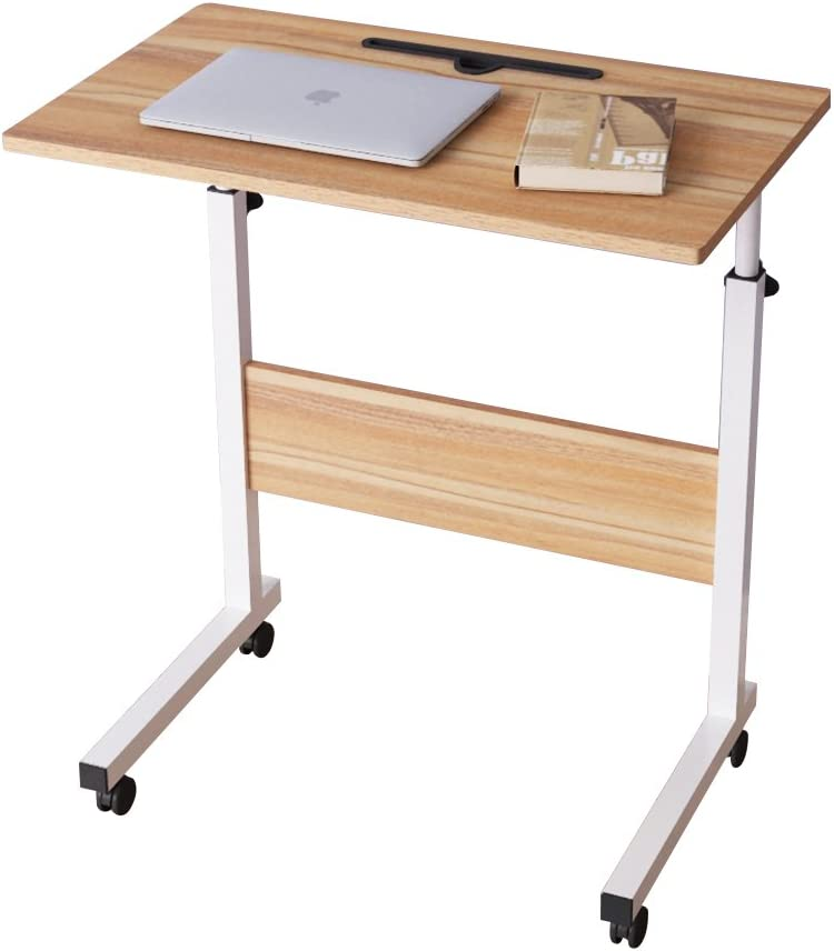 DlandHome 23.6 Inches Medium Size Mobile Side Table, Adjustable Movable w/Tablet Slot & Wheels, Portable Laptop Stand for Bed Sofa, D-05#3-60O, Oak, 1 Pack