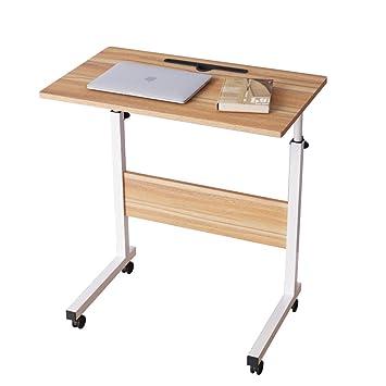 DlandHome 60 * 40 cm Ajustable Mesa de Ordenador Portatil con Ruedas Sofá Mesa Mesas de Centro,con Ranura para Tableta, Roble: Amazon.es: Hogar