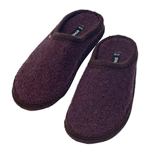 Japanwelt Hausschuhe Herren - Winter Indoor Slipper warm 41-48 EU 100% Schafswolle Wollwalk wie Filzsohle Kakaobraun