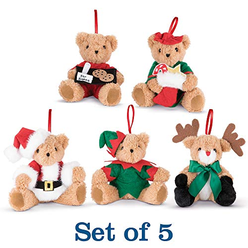 Vermont Teddy Bear - Amazon Exclusive Night Before Christmas Holiday Ornaments, Set of 5, 4 Inches