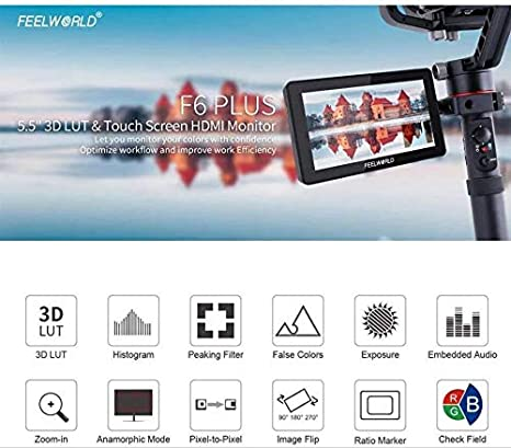 FEELWORLD F6 Plus 5.5 Inch 3D Touch Screen IPS FHD1920x1080 Support 4K HDMI Field Monitor On DSLR Camera DC and Type-C Input with Tilt Arm and 12V Adapter with Battery and Charger
