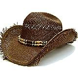 Modestone Men's Very Cool Straw Cowboy Hat Fuzzy Straw Fringe Brown