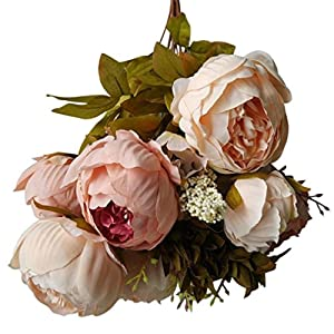 YJYdada Artificial Flower, 1 Bouquet Vintage Artificial Peony Silk Flowers Bouquet for Decoration (Beige) 82