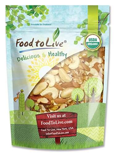 Healthy Mix of Certified Organic Raw Nuts by Food to Live (Cashews, Brazil Nuts, Walnuts, Almonds), Unsalted, Bulk — 2 Pounds
