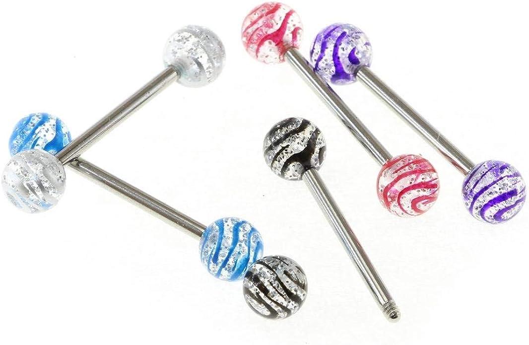 "Barbell Tongue Nipple Ring Heavy 8 Gauge 5//8/"" UV Red Acrylic 6mm Balls Body"