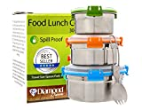 Stainless Steel Lunch Box (Set of 3) by Diamond Driven, Reusable Leak Proof Spill Proof Food Storage Containers for Kids, School, Office, Work, Camping,with Lid Lock for Salads, Snacks with Spoon Fork