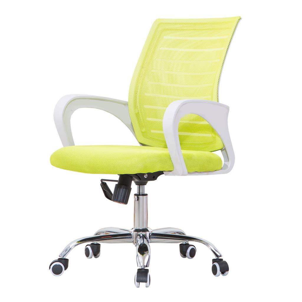 オフィスチェア/事務用チェア/回転チェア、厚手のスポンジクッション/通気性、高さ調節可能、固定式アームレスト、エルゴノミック背もたれ、取り付けが簡単[複数の色をご用意]  white green B07QQW5DW7