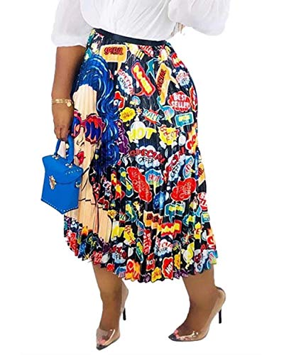 - Women's African Graffiti Pleated Skirts Color Block Cartoon Printed Elastic Waist A-Line Swing Long Midi Party Skirt