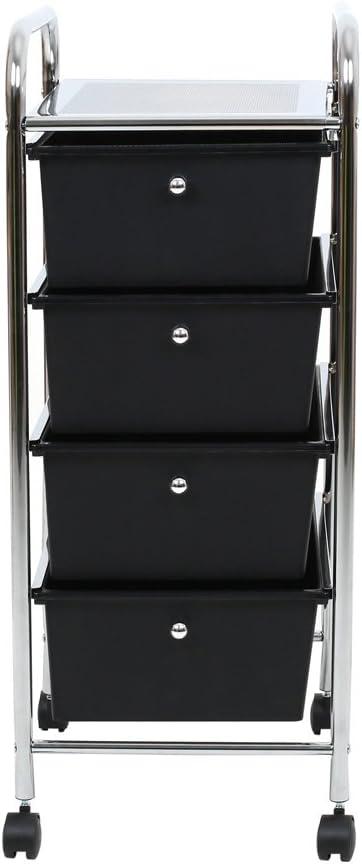 Premier Housewares 1600349 Chariot /à 4 Tiroirs en Plastique Noir et Cadre en Tube dacier Chrom/é