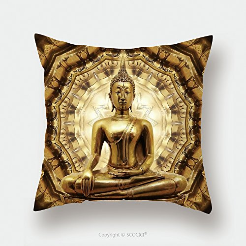 Custom Satin Pillowcase Protector Thai Golden Buddha On Oriental Gold Ornament Texture Background 159260216 Pillow Case Covers Decorative by chaoran